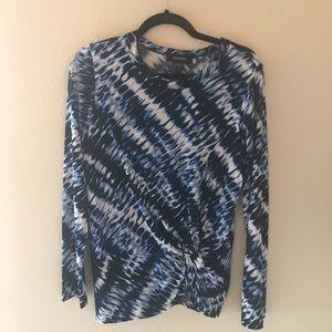 Karen Kane Tie Dye Side Knot Long Sleeve Top